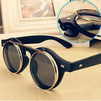 New Steampunk Goth Goggles Glasses Retro Flip Up Round Sunglasses Vintage Brown#