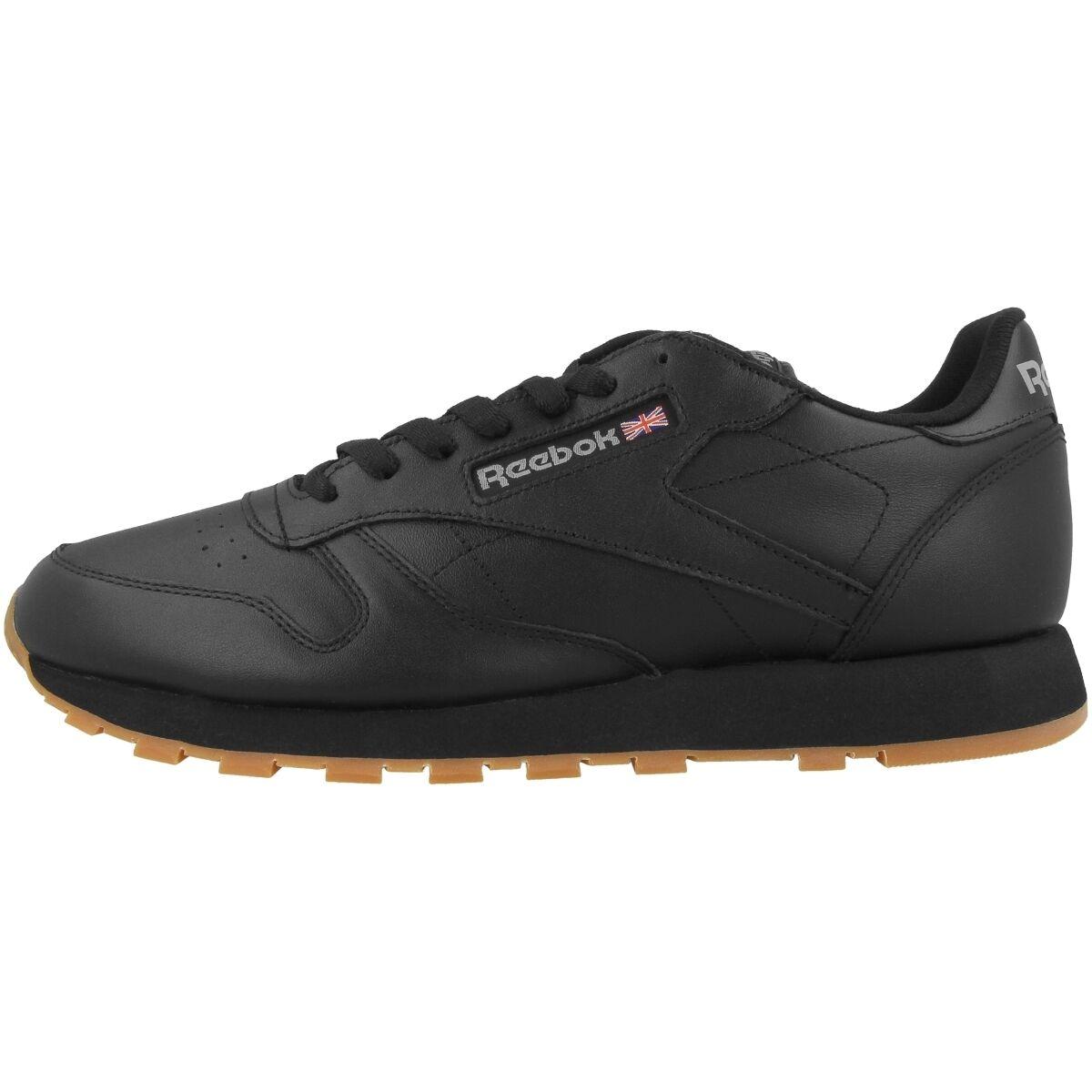 Reebok Classic Leather cortos zapatos negro Gum 49800 ocio Sport Fitness