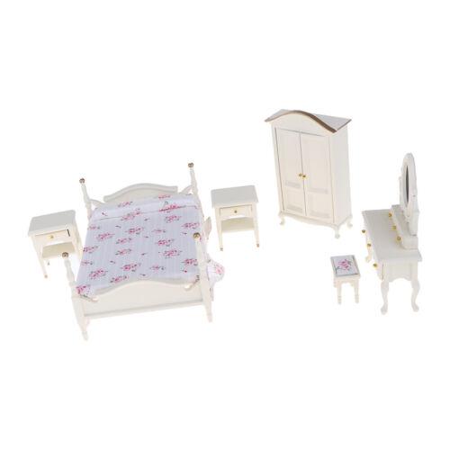 Furniture Room Items 6pcs Dollhouse Miniature Bedroom Furniture Wood Floral Bedroom Set For 1 12 Com