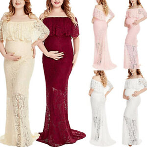 Women-Maternity-Long-Maxi-Dress-Pregnant-Photography-Lace-Lady-Gown-Props-Photo