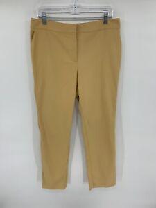 St-John-Women-s-Dress-Pants-Size-12-Beige-Straight-Leg-Cotton-Stretch-L8
