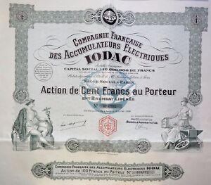 Compagnie Française Des Accumulateurs Électriques Iodac Action 100 Francs 1928 B8itfj7e-07221358-547003327