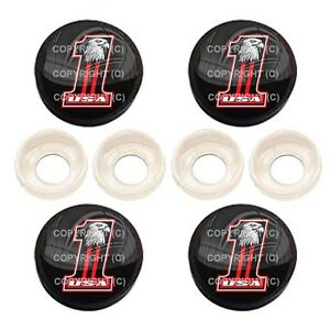 RED EAGLE NO 1 BC037 4 Black License Plate Frame Tag Screw Snap Cap Covers