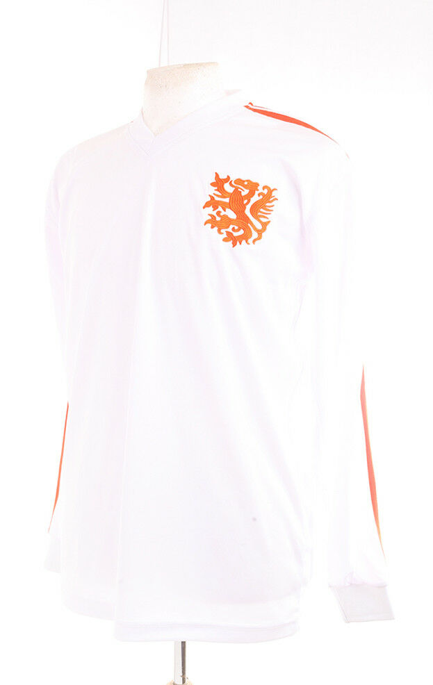 HOLLAND 1974 WORLD CUP LONG SLEEVE AWAY WHITE CRUYFF 14 FOOTBALL SHIRT XL