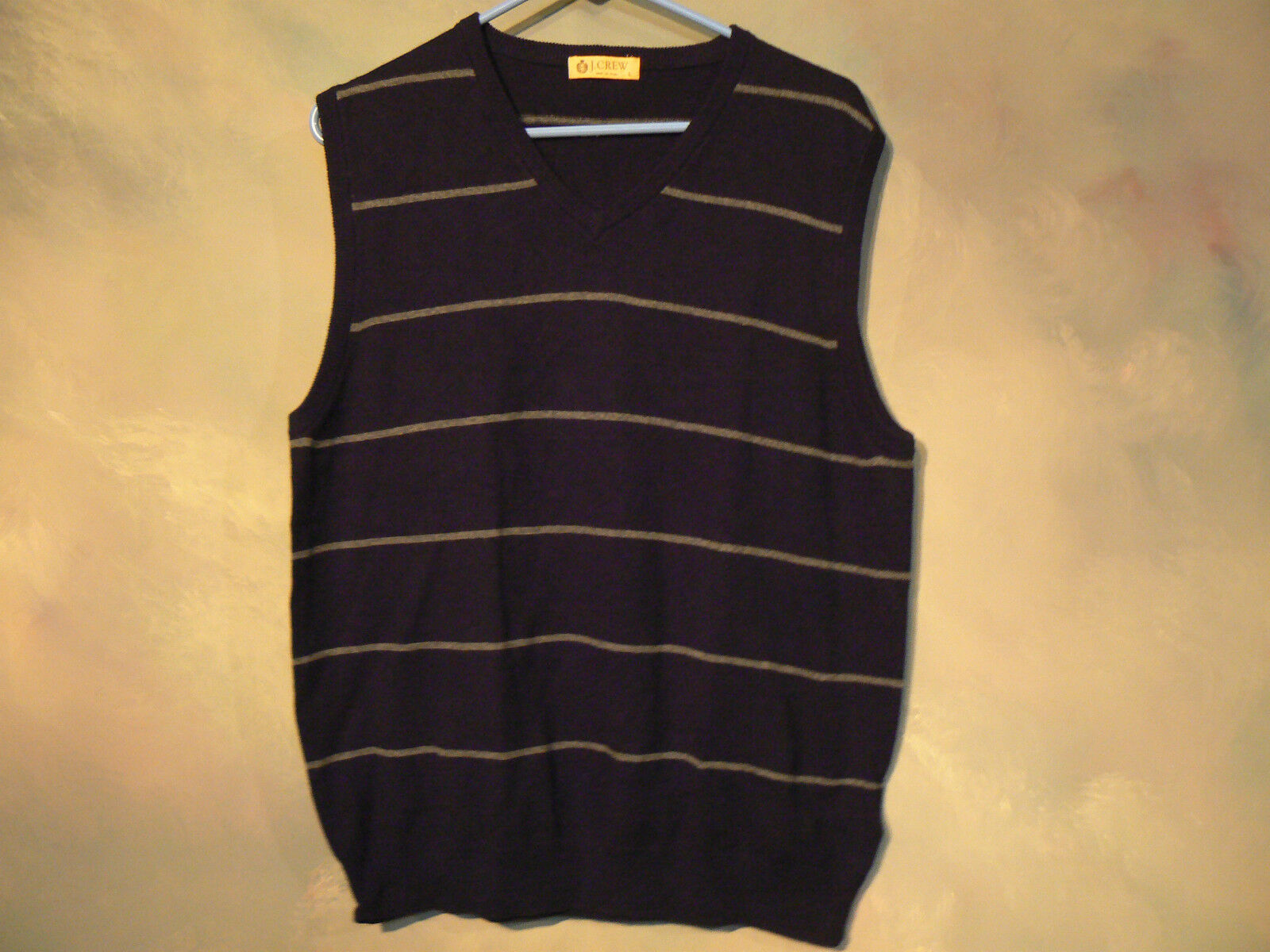 NEW WITHOUT TAGS J CREW MENS COTTON-CASHMERE NAVY / GRAY SWEATER VEST SIZE LARGE