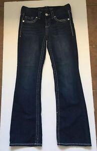 Seven-7-Women-039-s-Boot-Cut-Dark-Wash-Thick-Stitch-Stretch-Jeans-Sz-28
