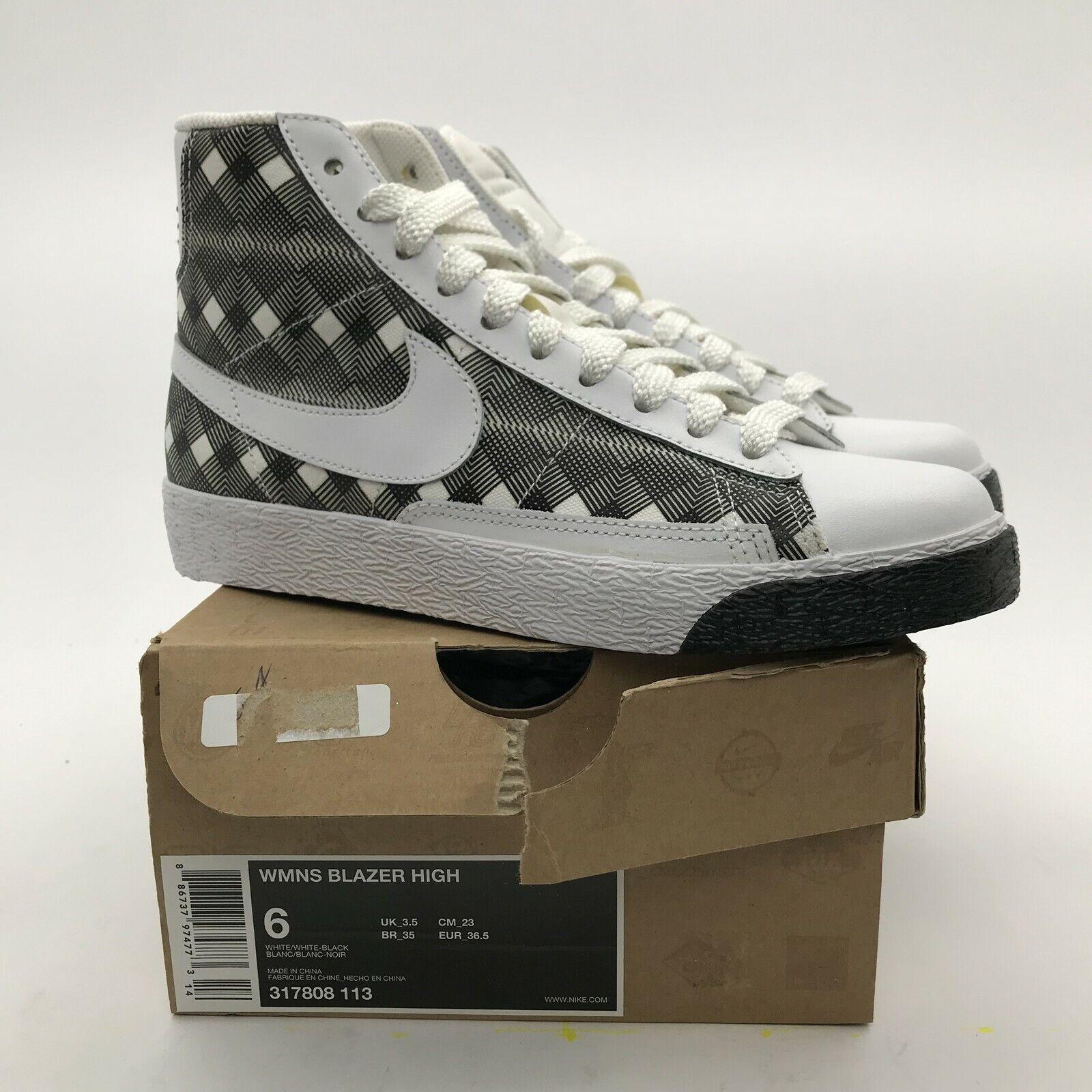 2008 Nike SB WMNS Blazer High White White Black Woven 317808-113 NEW rare US 6