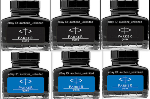 6 Parker Quink 3 Qty Blue + 3 Qty Black Ink Bottle 30 Ml each 1 oz New Sealed