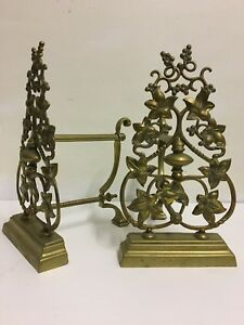 Wondrous Details About Antique Victorian Brass Companion Andirons Rests Set Fireplace Tools Qp190 Download Free Architecture Designs Aeocymadebymaigaardcom