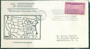 US -FDC.858 WASHINGTON  STATE 50th ANNIV.CANCEL.OLYMPIA WASH.NOV.11-1939 ADDR.
