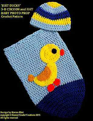 'JUST DUCKY' 3-D COCOON and HAT Baby PHOTO PROP Crochet Pattern *BEGINNER/EASY*