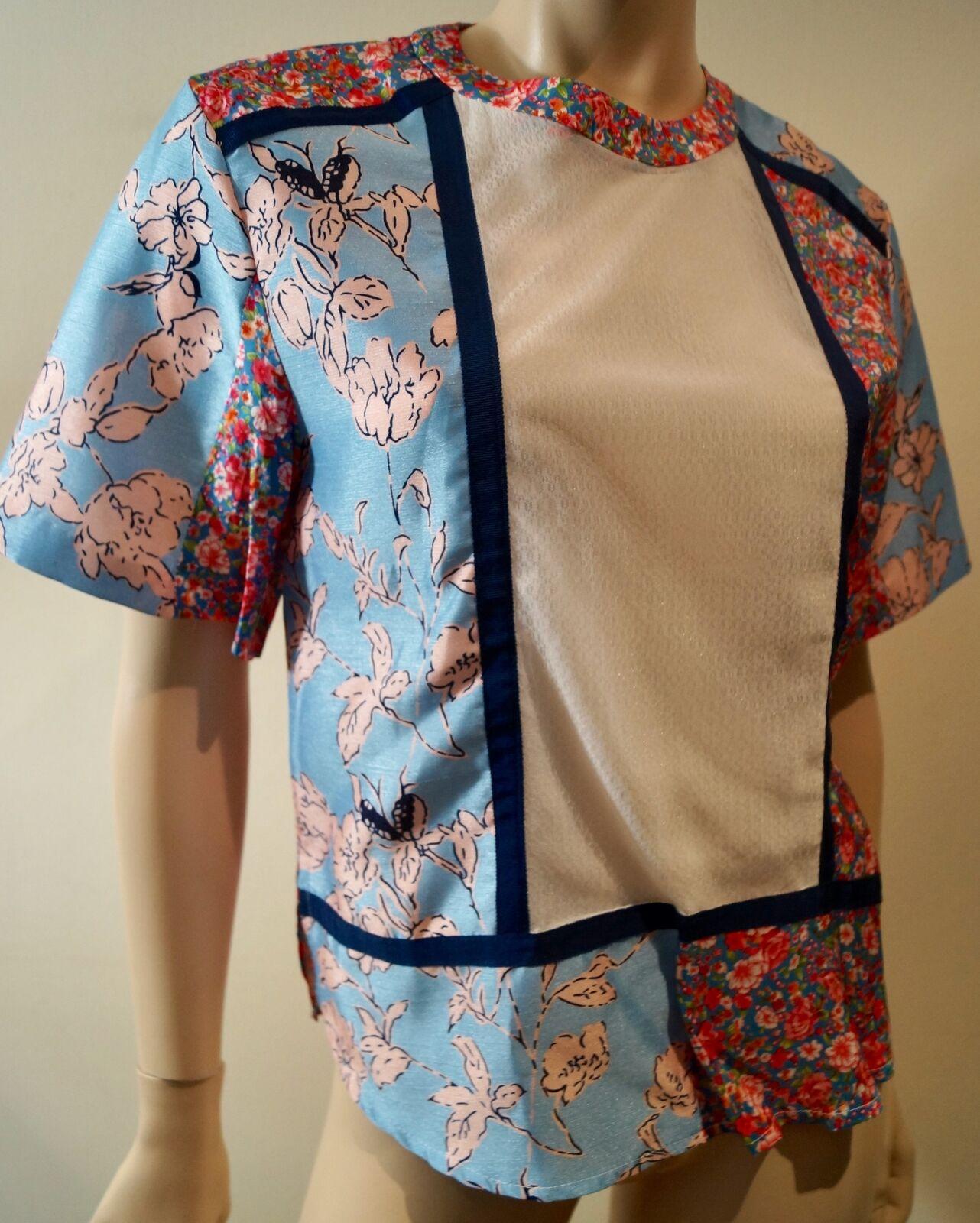 2d8e089e EMIN & PAUL Multi Colour Floral Print White Panel Short Sleeve Blouse Shirt  Top
