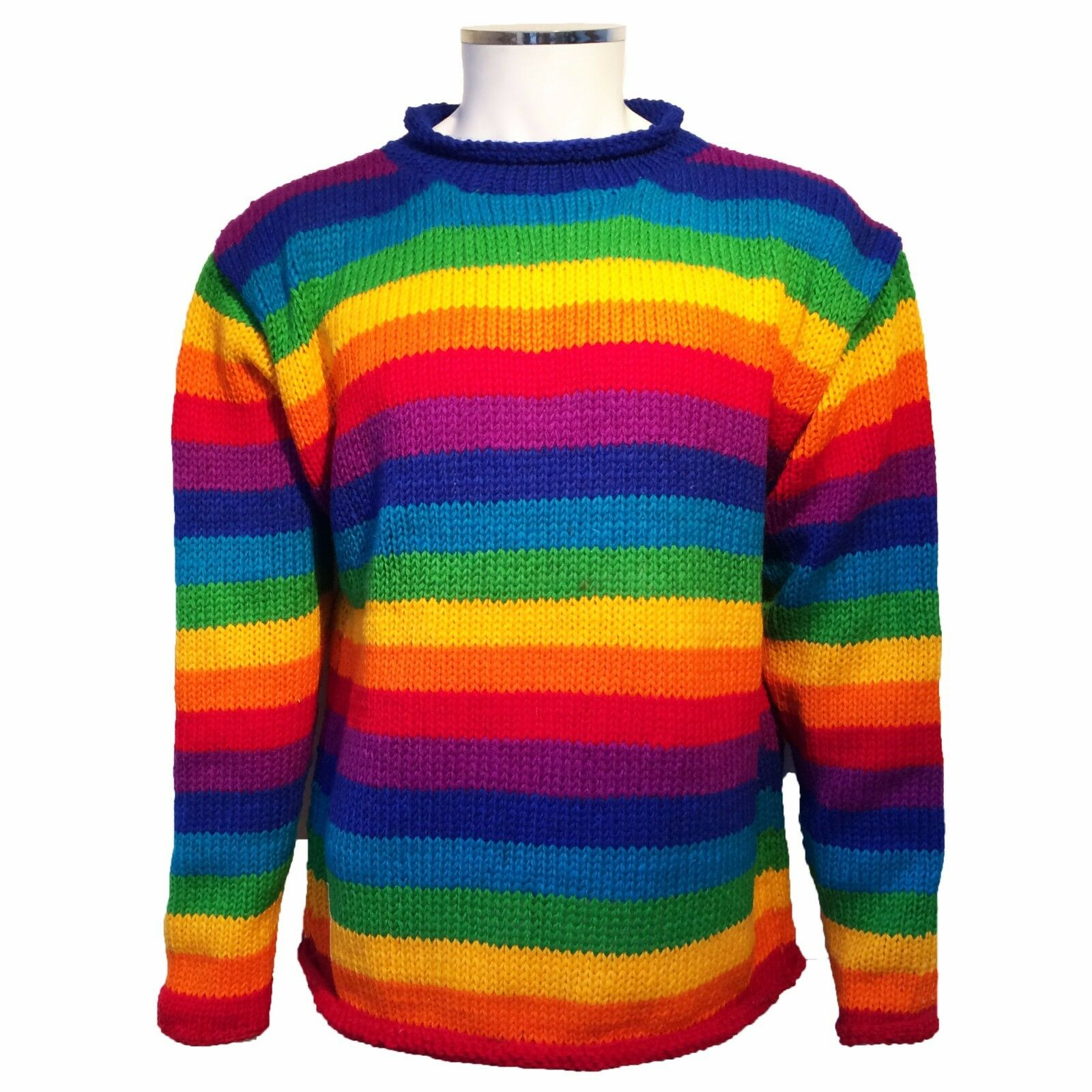 HIPPY BOHO HAND KNITTED BRIGHT RAINBOW STRIPE JUMPER FESTIVAL CAMPING CAMPERVAN