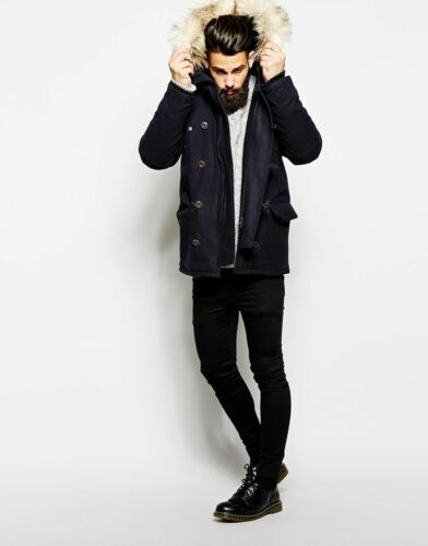 London Fur Blue Men's Wool SizeSmall Faux Hood £250 App Rrp With Parka hBorxtCsQd