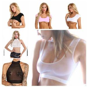 a6ccead732 Sexy Women Casual Tank Tops Bolero Vest Blouse Transparent Mesh Crop ...