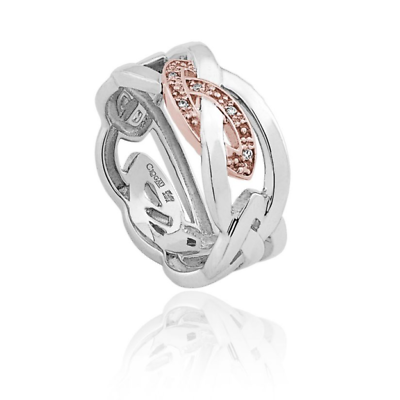 Size M NEW Welsh Clogau Silver /& Rose Gold David Emanuel Star Ring £40 OFF
