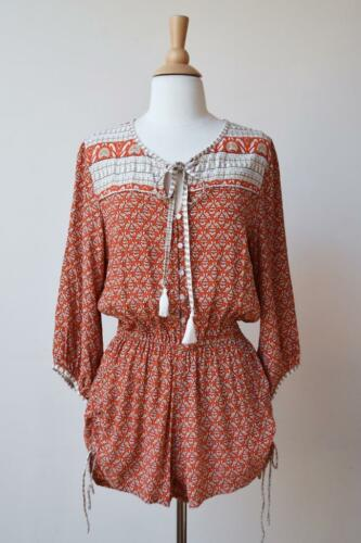 adbefc8dcf5 8 of 12 New FAITHFULL THE BRAND Orange White Woodstock Boho Indie Romper  Playsuit S