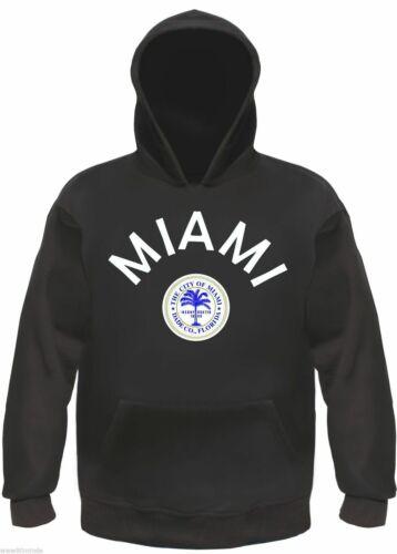 MIAMI Hoodie S bis 3XL kapuzenpullover florida beach sweatshirt Schwarz