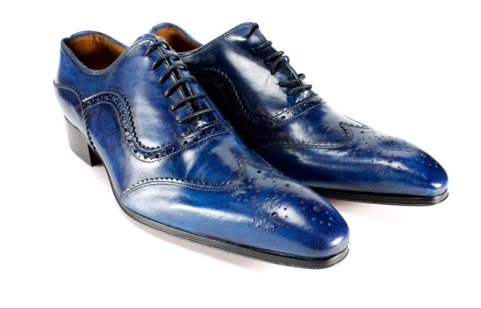 Zapatos De Vestir IVAN TROY Azul Baki Hecho a Mano Cuero Italiano Para Hombre Zapatos Zapatos Oxford