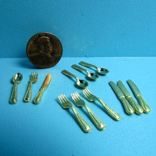 Dollhouse Miniature Silverware Set 12 Pieces in Gold ~ IM65336