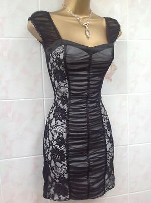 Jane Norman Sexy Black Cream Lace Mesh Gypsy Corset Bodycon Party Dress Size 6