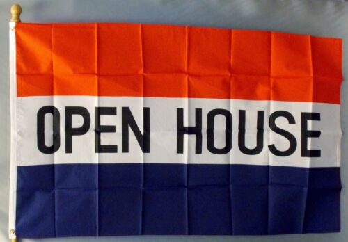 "OPEN HOUSE 3X5/' FLAG NEW 3/'X5/' BIG SIGN 36X60/"" 3 X 5"