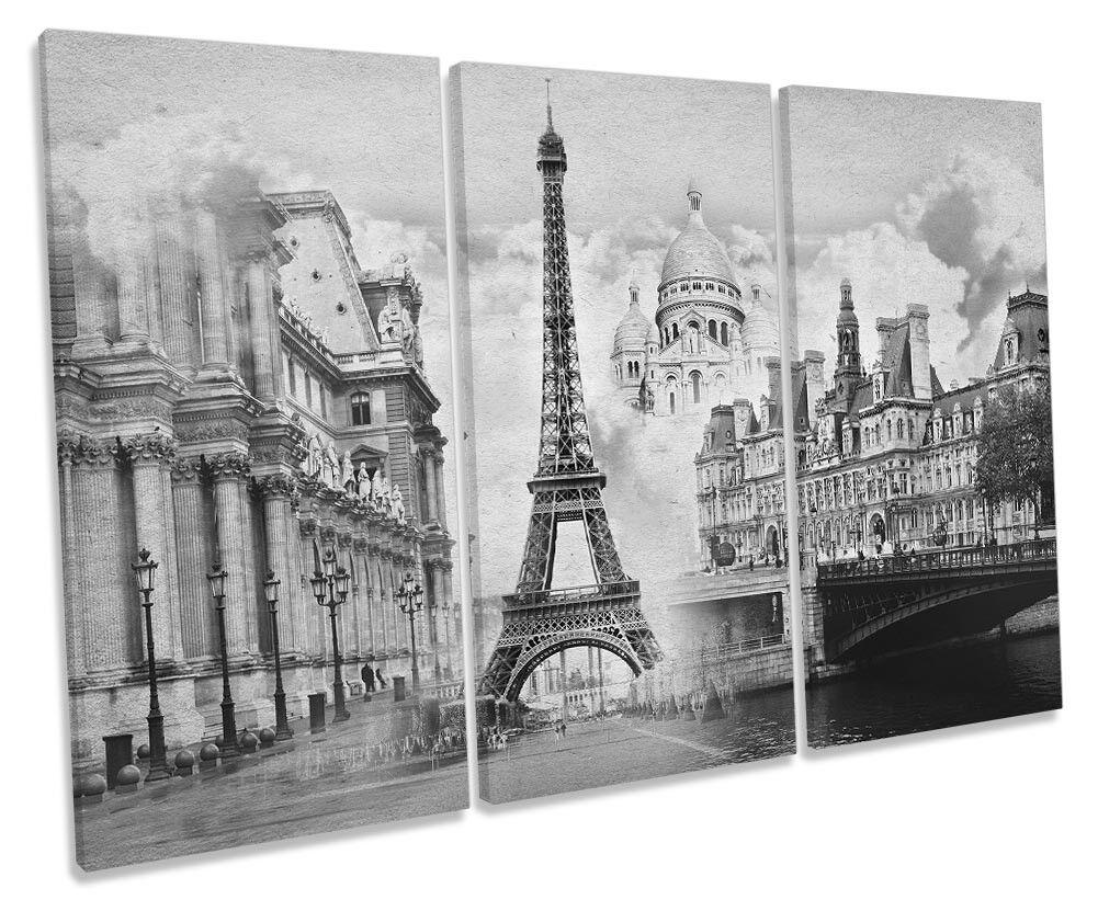 France Paris Landmarks B&W Picture TREBLE CANVAS WALL ART Print Print Print dc3ed3