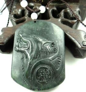Beautiful-100-Chinese-jade-hand-carved-the-statue-of-Wolf-Head-PENDANT