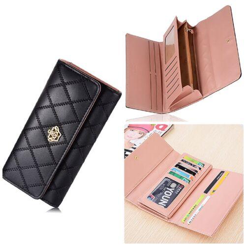 3 Fold Metal Crown Long Zipper Clutch Wallet Fake PU Black Card Purse For Women