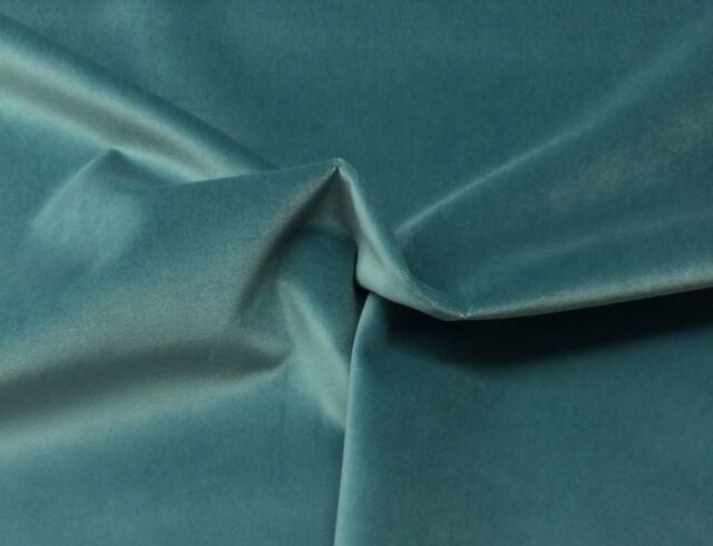 "BALLARD DESIGNS QUEENS VELVET TEAL BLUE SOLID FURNITURE FABRIC 4 YARDS 54""W"