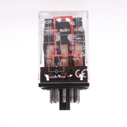 OMRON MK3P-I AC 220V Relay 11-Pin 10A 250VAC With PF113A Socket Base