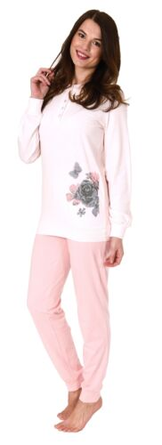 Damen Pyjama Schlafanzug langarm mit Bündchen und Rose als Motiv 281 201 90 740