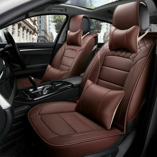 US Deluxe PU Leather Car Seat Cover Accessories Cushion Set Front+Rear+Pillows