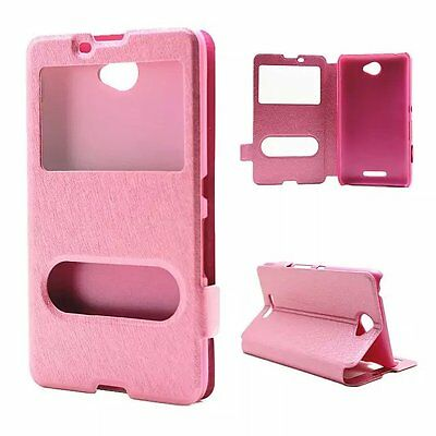 Window View Silk PU Leather Back Flip Stand Case Cover For Sony xperia E4