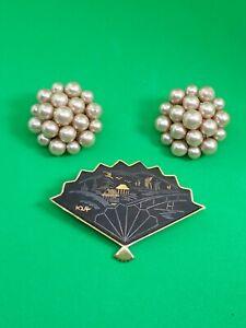Japan-K24-Damascene-Fan-Vintage-Broch-Clip-On-Pearl-Earrings-Faux-1950-039-s