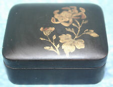 Beautiful Antique Japanese Black Lacquer Snuff Box Gold Flower Floral Decoration