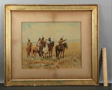 Large Antique Charles Craig Western Native American Indian Hand Colored Print