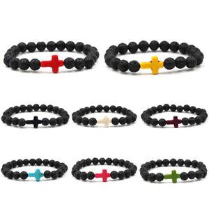 Femme-Hommes-LAVE-ROCK-PIERRE-TURQUOISE-CROIX-perle-elastique-yoga-bracelet-Mode