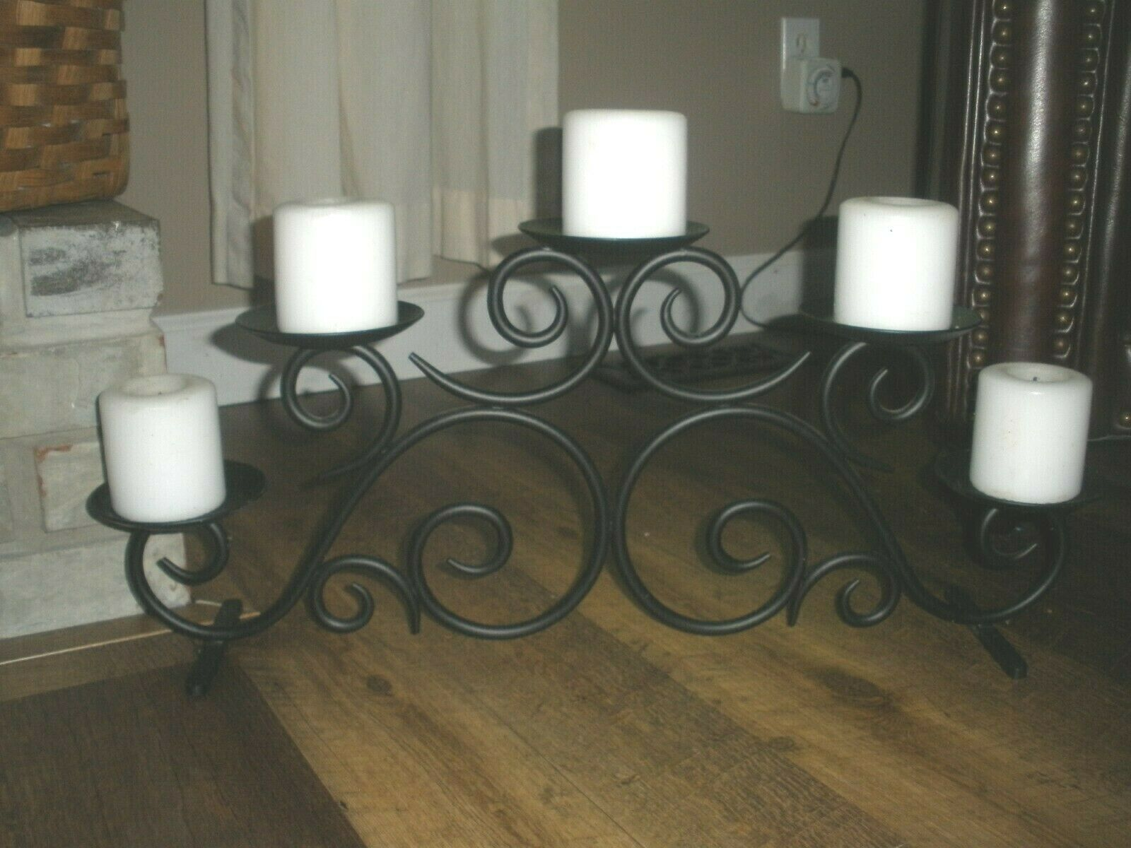 Target Home Amber Bumpy Glass Wrought Iron Leaf Hurricane Pillar Candle Holder For Sale Online Ebay