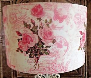 Image Is Loading Rose Script Postcard Pink Lamp Shade Lampshade Shabby