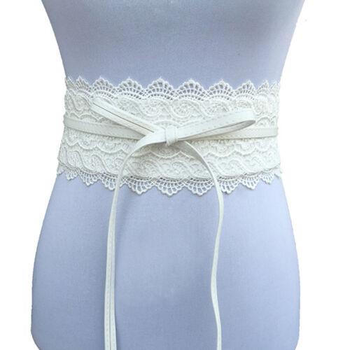 Women Waistband Corset Stretch Waist Crochet Lace Obi Wrap Belt Dress Decor AL