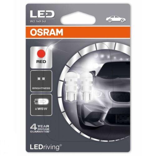 Osram Bombillas LED W5W 12 V Coche Freno De Cuña 501 Rojo 2880R-02B twin