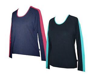 Schneider Sportswear Damen Langarm T-Shirt Pulli blau / schwarz Gr. 40 / 42