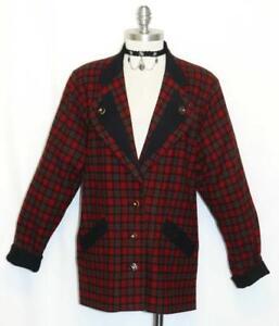LODENFREY PLAID WOOL JACKET Women AUSTRIA Hunting Winter BLACK RED ...