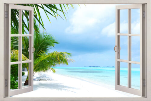 Window 3D Sea View Summer Decal Wallpaper Sun Kid Beach Wall Stickers Art Mural