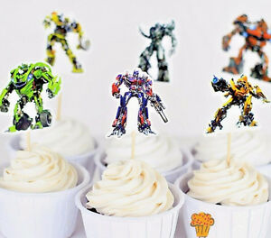Image Is Loading 24pcs Transformers Cupcake Cake Toppers Decoration Kids Boys