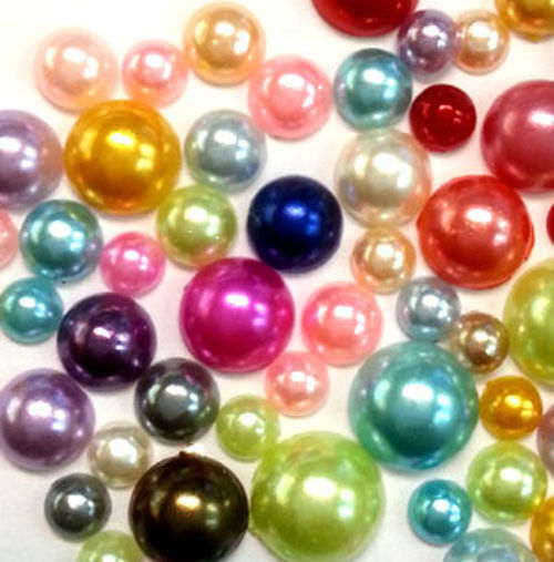300 pcs 4mm - 8mm DIY Art Faux Pearls Flatback Mix Colors Size M1-10