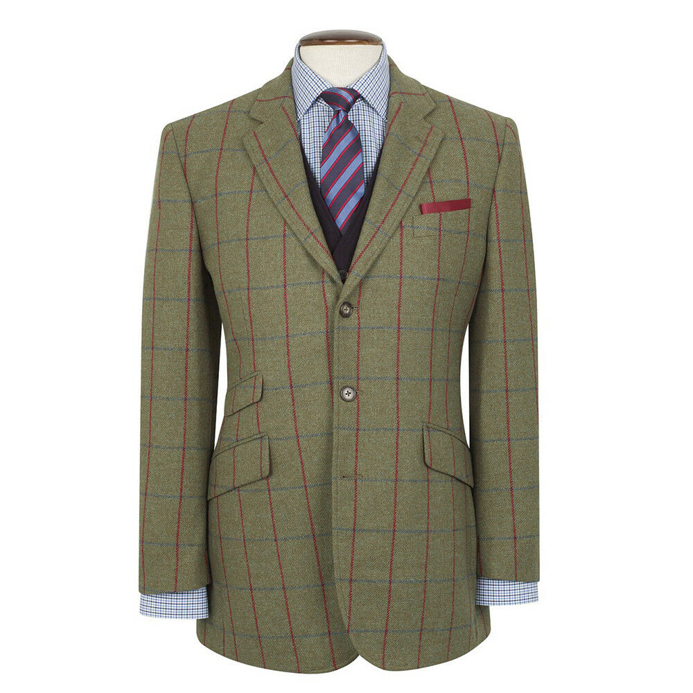 Nuovo Brook Taverner Yorkshire Tweed Giacca- Verde con Blu Blu con Navy/Scozzese Rosso - 5cf3a2