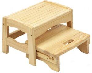 Safety st sgabello rialzo con due gradini in legno per bambini