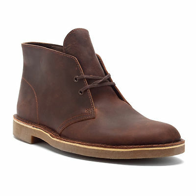 CLARKS MENS BUSHACRE 2 DESERT BOOT DARK BROWN LEATHER CHUKKA CASUAL BOOTS 34135